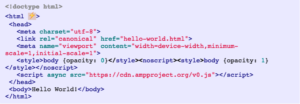 Snippet of AMP code
