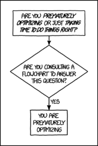 Strip from XKCD about how premature optimisation is the root of all evil
