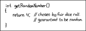 Strip from XKCD about how to generate a number in a funny way